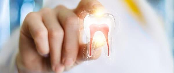 Hand håller illustrerad tand